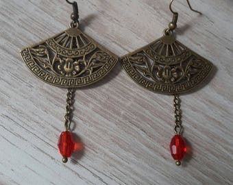 Earrings bronze and red beads