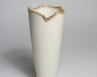 Dematerialised Glaze Feature on a Tall Porcelain Vessel