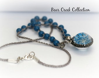 Real Flower Necklace, Blue, Glass, Pave Crystals, Nature, Sparkle, Boho Style, Pendant, Layering, Crochet Jewelry, Knotted Necklace