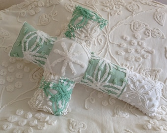 """EASTER SALE...Pillow Vintage Mint Green and White Cabin Crafts and Morgan Jones Chenille Cross...16 x 22"""""""
