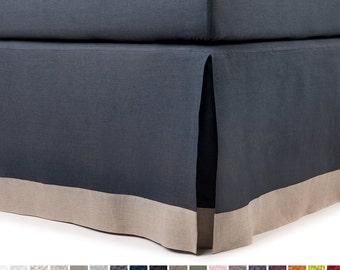 King bedskirt Queen bed skirt Twin or Full bedskirts, Tailored bedskirt, Linen bedskirt, Box pleat Color block bedskirt, Grey bedskirt Linen