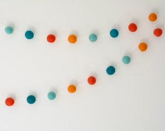 Aqua Turquoise Orange Felt Ball Garland | Orange Boy's Room Decor | Kid's Room Bunting | PomPom Garland | Aqua Kids Decor | Nursery Bunting