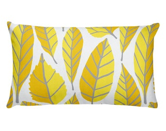 Beautiful trend-forward grey and yellow leaves nature natural hand-drawn pattern on gorgeous Rectangular Pillow Home Decor