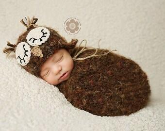 PDF Crochet Pattern Sleepy Owl Hat and Swaddle Sack Cocoon Pattern, Newborn