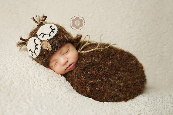 PDF Crochet Pattern Sleepy Owl Hat and Swaddle Sack Cocoon