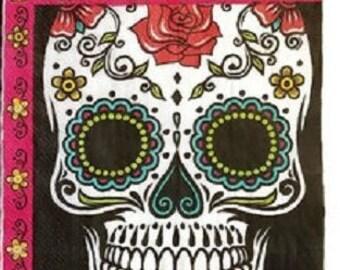 Day of the Dead ''Dia De Los Muertos'' Sugar Skull Luncheon Paper Napkins 20ct