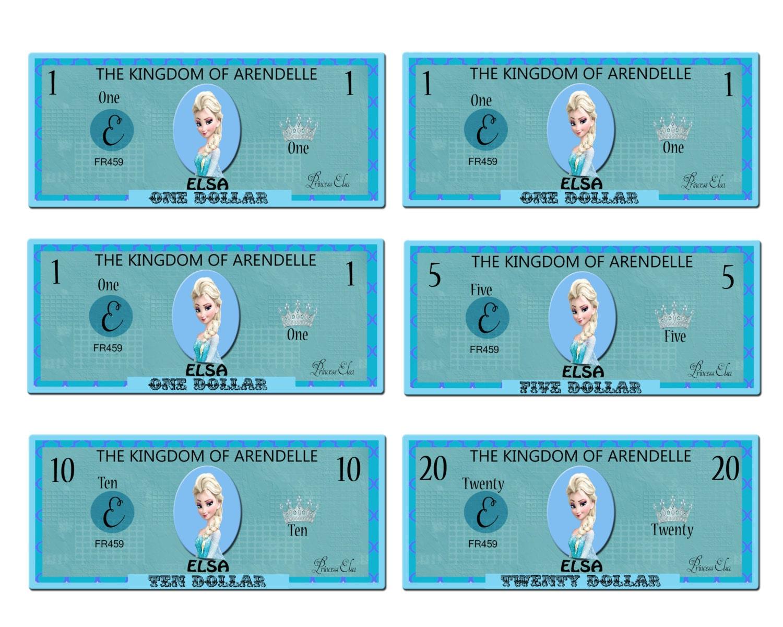 Printable Frozen Elsa Play Money Pack Instant Download JPEG