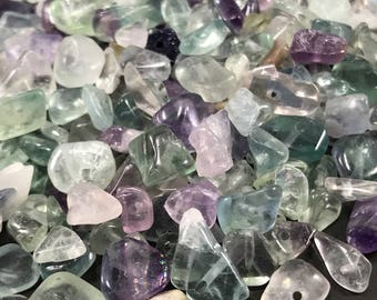 Rainbow Flourite Gemstone Chips, Pre Drilled Flourite Chips, Gemstone Chip Beads, Crystal Chips, Healing Stone Beads, Crystal Chip Beads