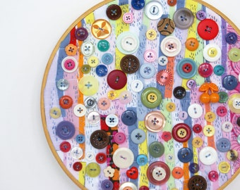Upcycled Embroidery Hoop Art, Textile And Vintage Button Art, Tutti Fruity Cupcake Chaos, MultiColor Button Decor