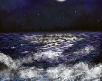 Moon Shines Over The Ocean