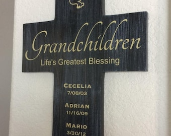 Grandchildren Life's Greatest Blessings Cross Personalized Names Birth Dates Large 11x16 Handmade in USA with solid wood.