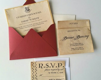 Harry potter theme etsy harry potter theme wedding invitation solutioingenieria Gallery