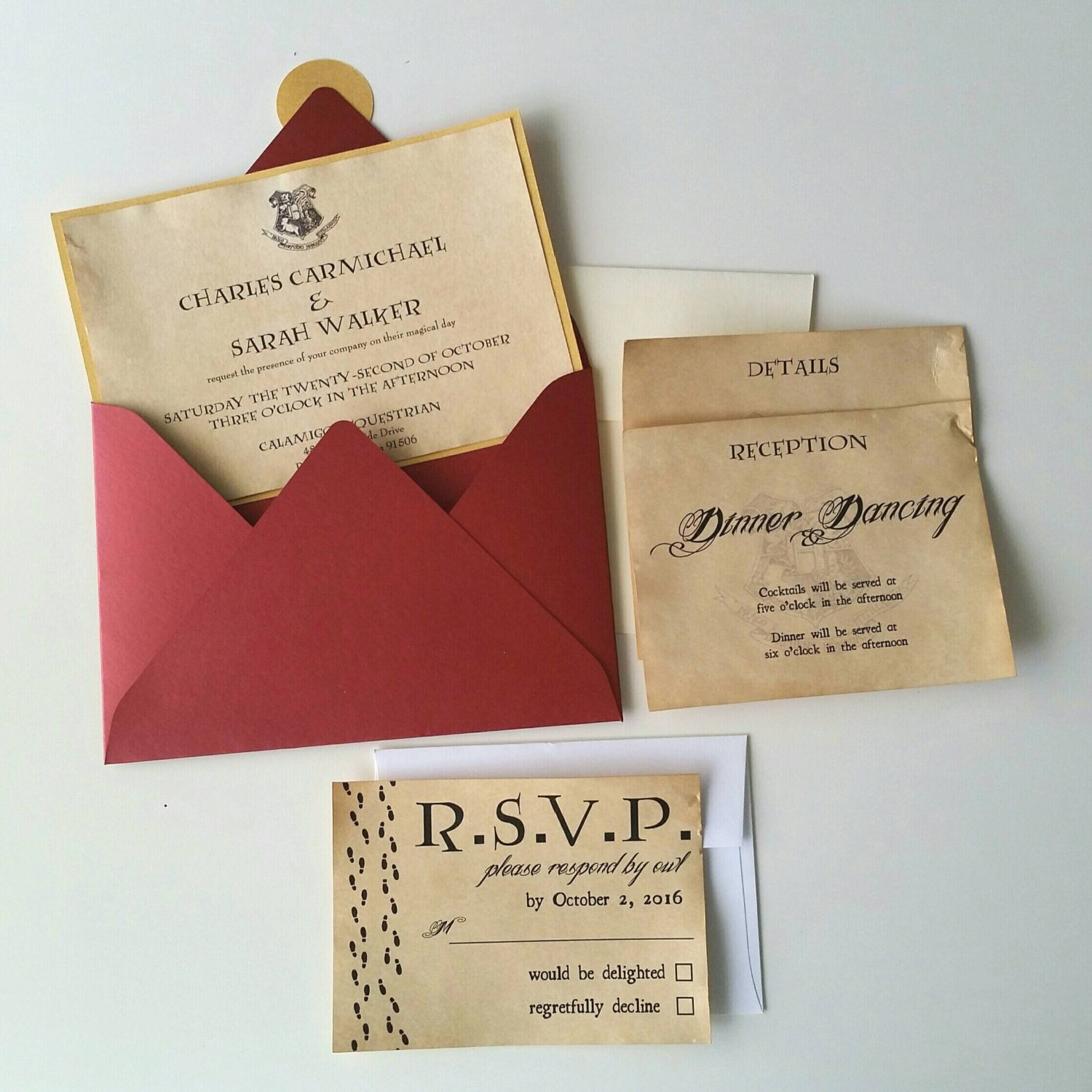 Harry Potter Theme Wedding Invitation 5 x 7 SAMPLE