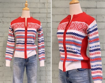 1970s Nordic ski sweater / 70s red white blue cardigan / 70s zip up knit sweater / 1970s Gordini ski sweater