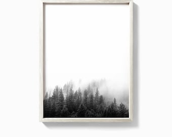 Forest print, forest art, black and white forest, minimalist landscape, trees, forest fog, top selling, nature photography, nature prints