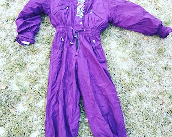 Vintage One Piece Skiing Suit / Ski / Purple / Floral / Jacket / Small / S / Onepiece / Overall / Jumpsuit / Costume / Skisuit / Flowers