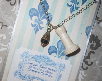 Antique Rook Uhlig Chess Bone Game Piece and Tibetan Repousse Lapiz Drop Treasure Relic Necklace