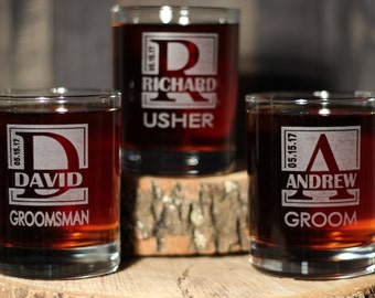 Personalized Engraved Whiskey Rocks Scotch Groomsmen Glasses Gifts  - ANY QUANTITY