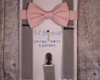 Blush Bow Tie, Light Grey Suspenders, Adult Suspender, Toddler Suspenders, Baby, Kids, Boys, Mens, Ring Bearer Gift, Pale , Soft, Light Pink