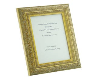 cf61bbfe76f Hand made shabby chic ornate distressed antique Gold vintage photo frame  for a 7