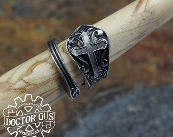 Cross Ring - Adjustable - Wrap Style - Handcrafted by Doctor Gus - Beautiful Antique Inspired Ring