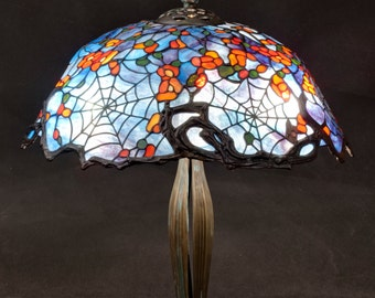 Desk Lamp, Stained Glass Lamp, Cobweb Lamp, Tiffany Lamp, Table Lamp, Bespoke Glass, Tiffany Replica, Stained Glass Art, Stained Glass Light