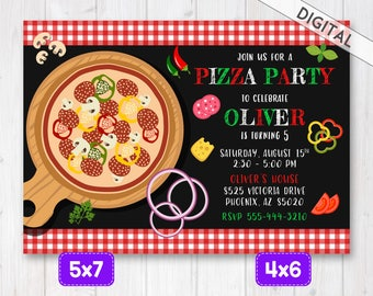 Pizza Invitation, Pizza party invitation, Pizza Party Invite, Pizza Birthday party, Pizza invite, Italian pizza invitation, Chalkboard