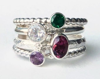 Mothers Ring  -  4 Birthstone Stacking Rings w/ 6x4 Oval Gemstone - Family Ring -  Stackable Rings - Birthstone Rings - Sterling Silver