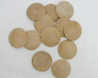 "2"" domed wood disc, 2 inch domed disk, domed circle 5/16"" thick unfinished DIY set of 12"