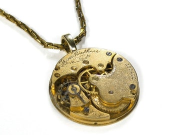 Steampunk Jewelry Necklace Vintage Gold Pocket Watch, Steam Punk Jewellery, Choker Style Anniversary Girlfriend Gift BEAUTY! - by edmdesigns