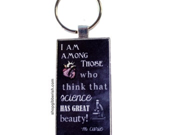 Marie Curie Science Necklace - Chalkboard - Science Teacher Gift Idea - Chemistry Jewelry - Necklace or Keyring