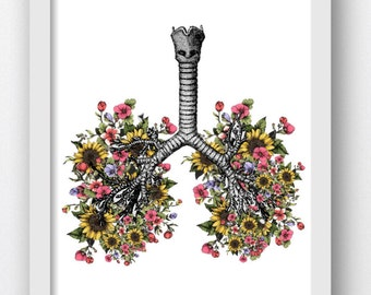 Flower Lungs, Sunflower Floral Lungs, Lungs with Flowers, Anatomical Lungs,Digital Download Print, Anatomy Prints, Anatomy Anatomical