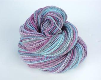Striped Sunset, Hand Spun, Handspun, Yarn, DK, Blue, Purple, Grey