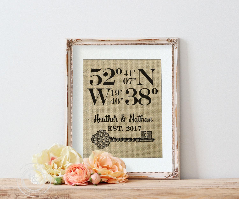 Bridal Shower Gift Wedding Gift Latitude Longitude Sign