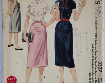 Vintage Sewing Pattern 1950s Women's/Teens Two Piece Wiggle Sheath Dress, Skirt, and Blouse  Size 11 McCall's 3337 Bust 29