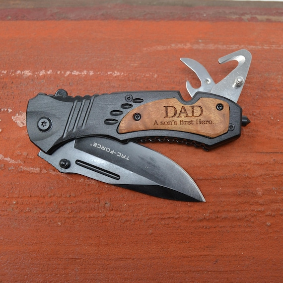 Personalized FREAKING KNIFE?! Oh, yeah. Dad will love this.
