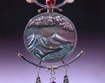 Necklace in Sterling Silver Red Sunstone, Gel Sugilite, 14 karat gold and Deschute Jasper Beads CASCADE SUNSET
