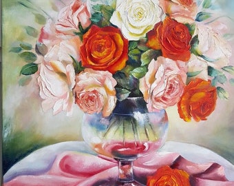 Oil Painting Palette Knife Art - Roses