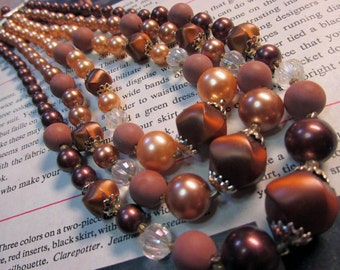 Vintage Japan Triple Strand Glass & Acrylic Brown Beaded Necklace