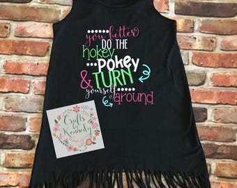 Do the hokey pokey / fringe dress / turn youreself around