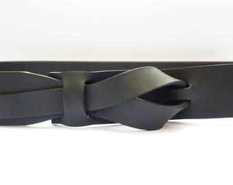 Flat Black Muse Leather Belt 1.25 inch  Ceinture Noire