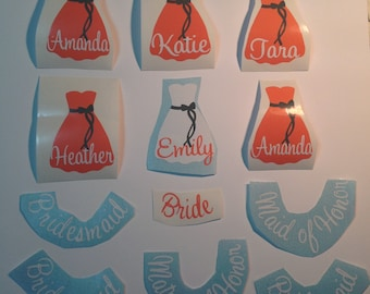 DIY Personalized Bridesmaid Wine Glass Vinyl Decals Wedding Dress Stickers Make Your Own Wedding Wine Glasses