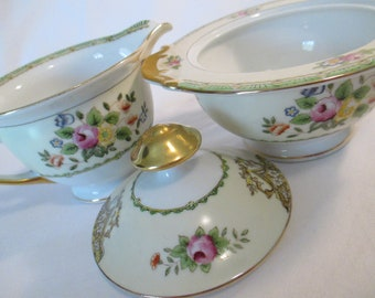 Vintage Meito China Sugar Bowl and Creamer Set, Farmhouse, Rustic, Shabby, Tea Party, Bridal Luncheon, Thanksgiving, Christmas
