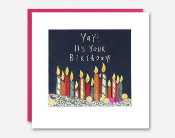 Colourful Birthday Candles Shakies Card