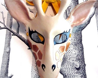 Giraffe Leather Mask, Adult Size - Made to Order ECO-FRIENDLY Holiday