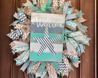 Coastal Wreath, Beach Wreath, Starfish Wreath, Coastal Welcome Wreath, Burlap Coastal Wreath, Summer Wreath, Beach House Wreath
