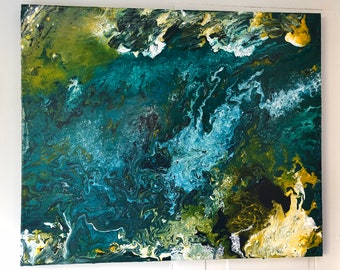 """Blue Planet - Abstract 20""""x24"""" acrylic/mixed medium on .75"""" wrapped canvas"""