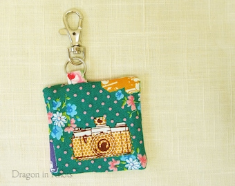 Retro Camera Keychain Pocket for earbuds, sd card, or other small items