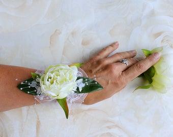 Silk peony corsage, bridal corsage, wedding corsage, bridesmaid corsage, silk flower corsage, bridesmaid's corsage, flower corsage