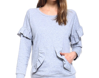 Vaneul Studio's Ruffle Detail Long Sleeve Top With Front Pocket
